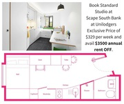 Standard Studio for $329pw at Scape South Bank,  Birsbane for students